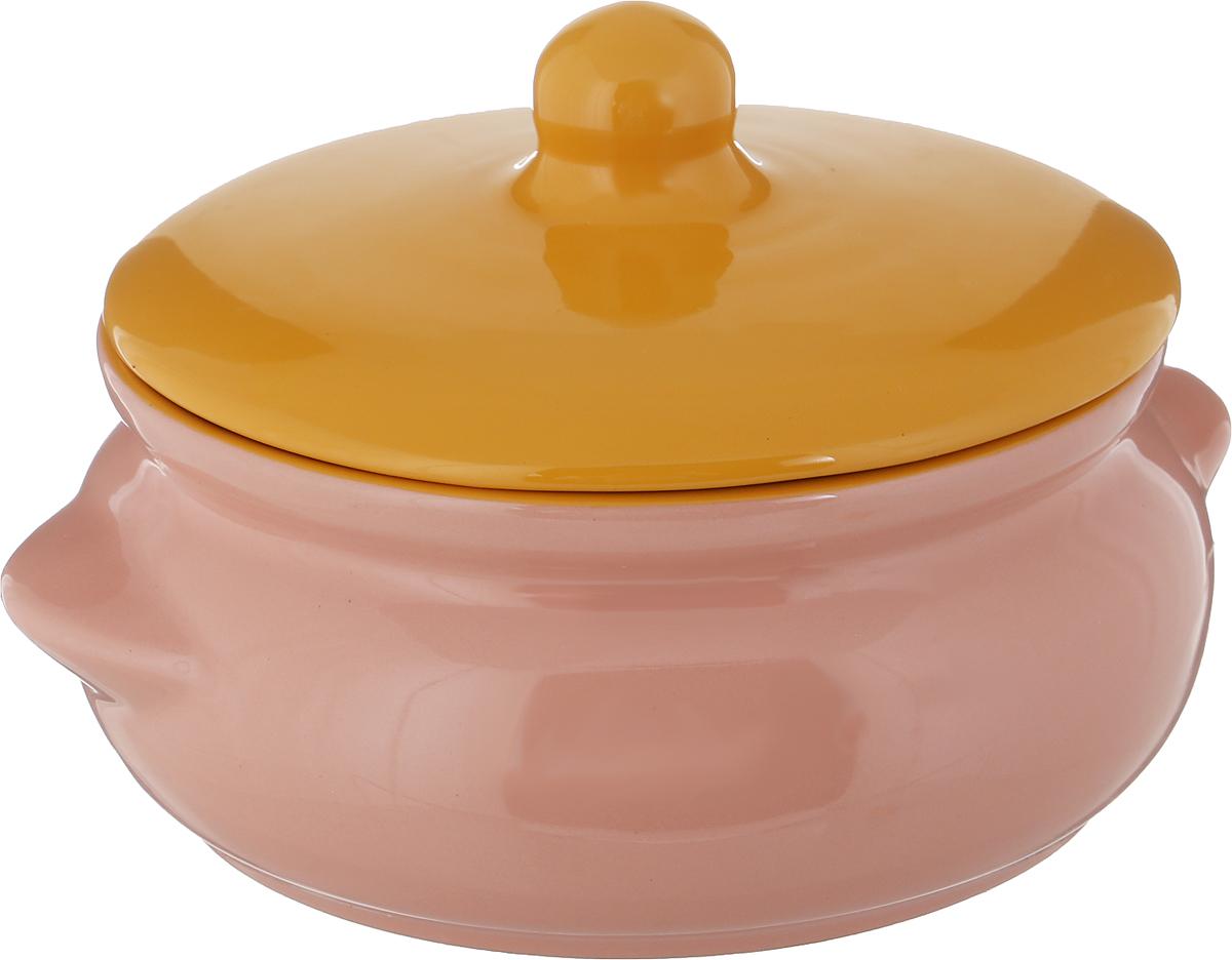 Горшок для запекания Борисовская керамика Радуга, с крышкой, цвет: розовый, 700 мл горшок для запекания борисовская керамика радуга с крышкой цвет голубой желтый 700 мл