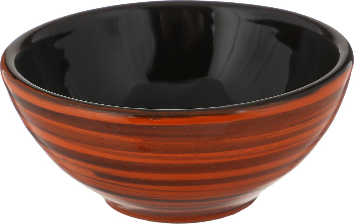 Розетка для варенья Борисовская керамика Радуга, цвет: оранжевый, черный, 200 мл розетка для варенья борисовская керамика радуга цвет голубой 200 мл