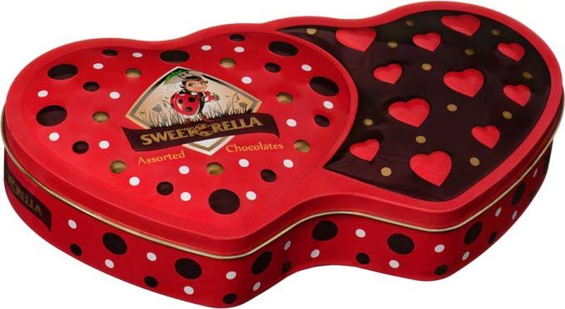 Sweeterella Сердечный дуэт шоколадные конфеты, 142 г sweeterella конфеты домик счастья 170 г