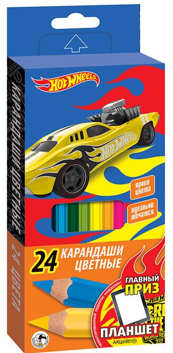 Mattel Набор цветных карандашей Hot Wheels 24 шт mattel карандаши цветные enchantimals 18 цветов