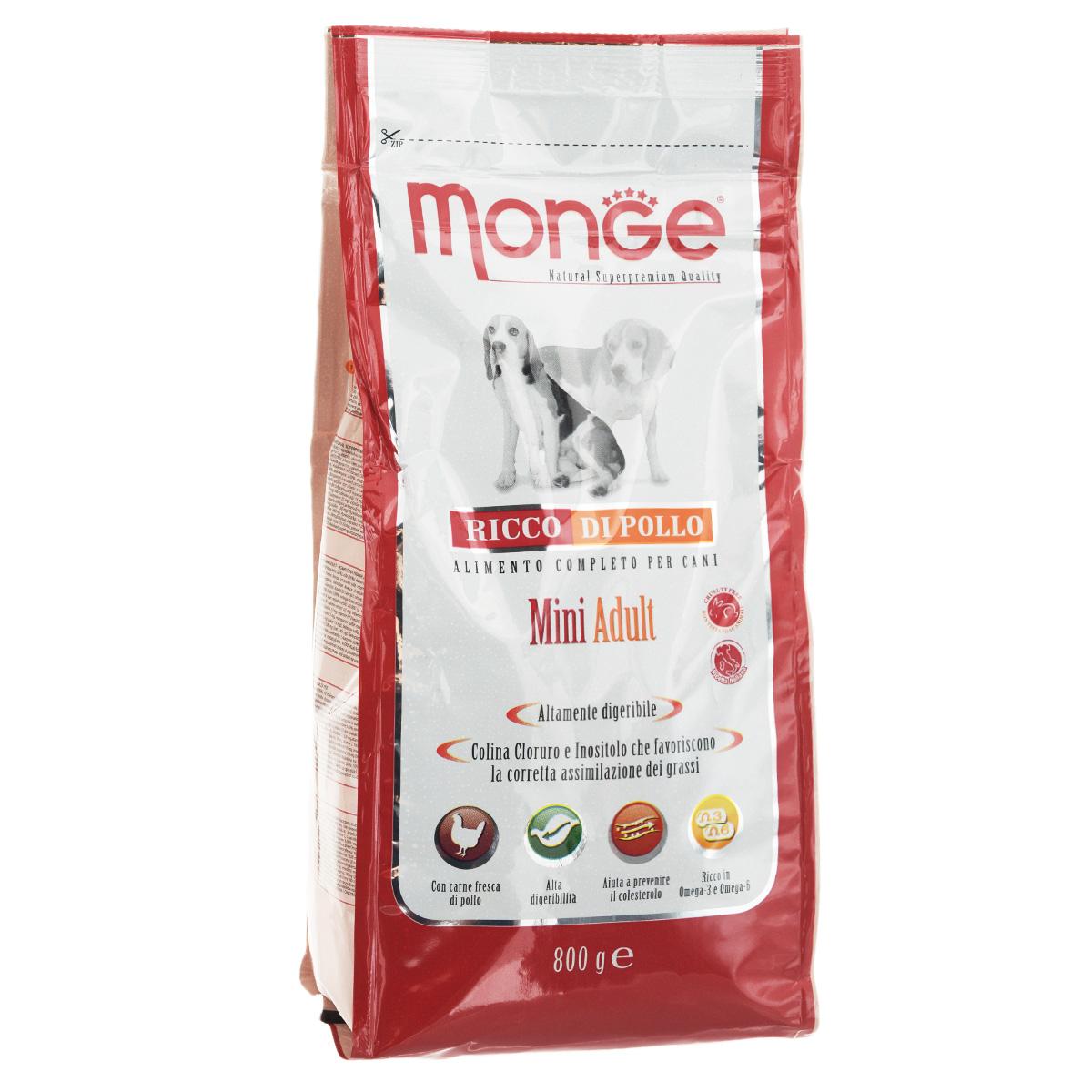 """Корм сухой """"Monge"""" для взрослых собак мелких пород, 800 г"""