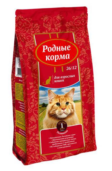 """Корм сухой """"Родные Корма"""", для взрослых кошек, телятина, 409 г"""