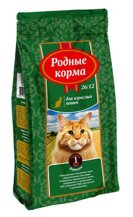 """Корм сухой """"Родные Корма"""", для взрослых кошек, барашек, 409 г"""