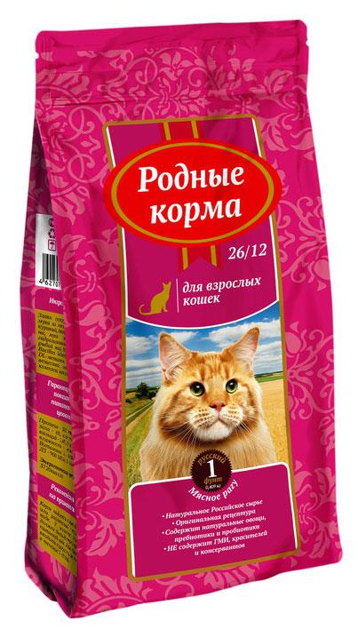 """Корм сухой """"Родные Корма"""", для взрослых кошек, мясное рагу, 409 г"""