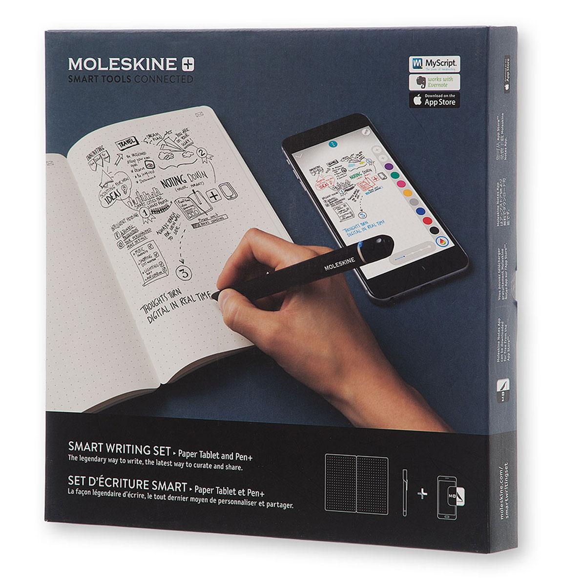 Moleskine Набор Smart Writing блокнот Paper Tablet / ручка Smart Pen+PTSETAНаблюдайте за тем, как ваши идеи перемещаются со страницы и развертываются на экране с помощью Moleskine Paper Tablet нового поколения, Pen+ и сопутствующего приложения. Насладитесь непосредственностью письма ручкой на бумаге в сочетании со всеми преимуществами цифрового творчества. Технология Ncoded позволяет ручке Pen+ распознавать место, в котором она находится на планшете Paper Tablet, и запечатлевать каждый ее штрих по мере того, как вы излагаете свои мысли. Затем приложение плавно переносит ваши заметки от руки со страницы на экран в режиме реального времени, что дает вам возможность оцифровывать текст, редактировать, систематизировать его, делиться своими идеями и претворять их в жизнь. Просто нажмите на значок конверта на странице, чтобы сразу же поделиться ею. Набор Smart Writing, который является частью M+ Collection, сочетает в себе ваши любимые инструменты, гарантирующие бесперебойный творческий процесс, где бы вы ни находились. Естественно аналоговый, удобно цифровой, очень Moleskine.К ручке подходит много стержней , стержень в комплекте не является уникальным. Вся суть в датчике, установленном в пере ручки. Чернила по сути нужны только для того, чтобы вы видели что пишите на бумаге. В телефоне будет появляться надпись даже если чернил не будет. Что входит в комплект: - планшет Paper Tablet со специальной бумагой, предназначенной для работы с Pen+, с пунктирным макетом; - умная ручка Pen+; - кабель USB для зарядки умной ручки; - 1 запасной наконечник с чернилами;... Рекомендуем!