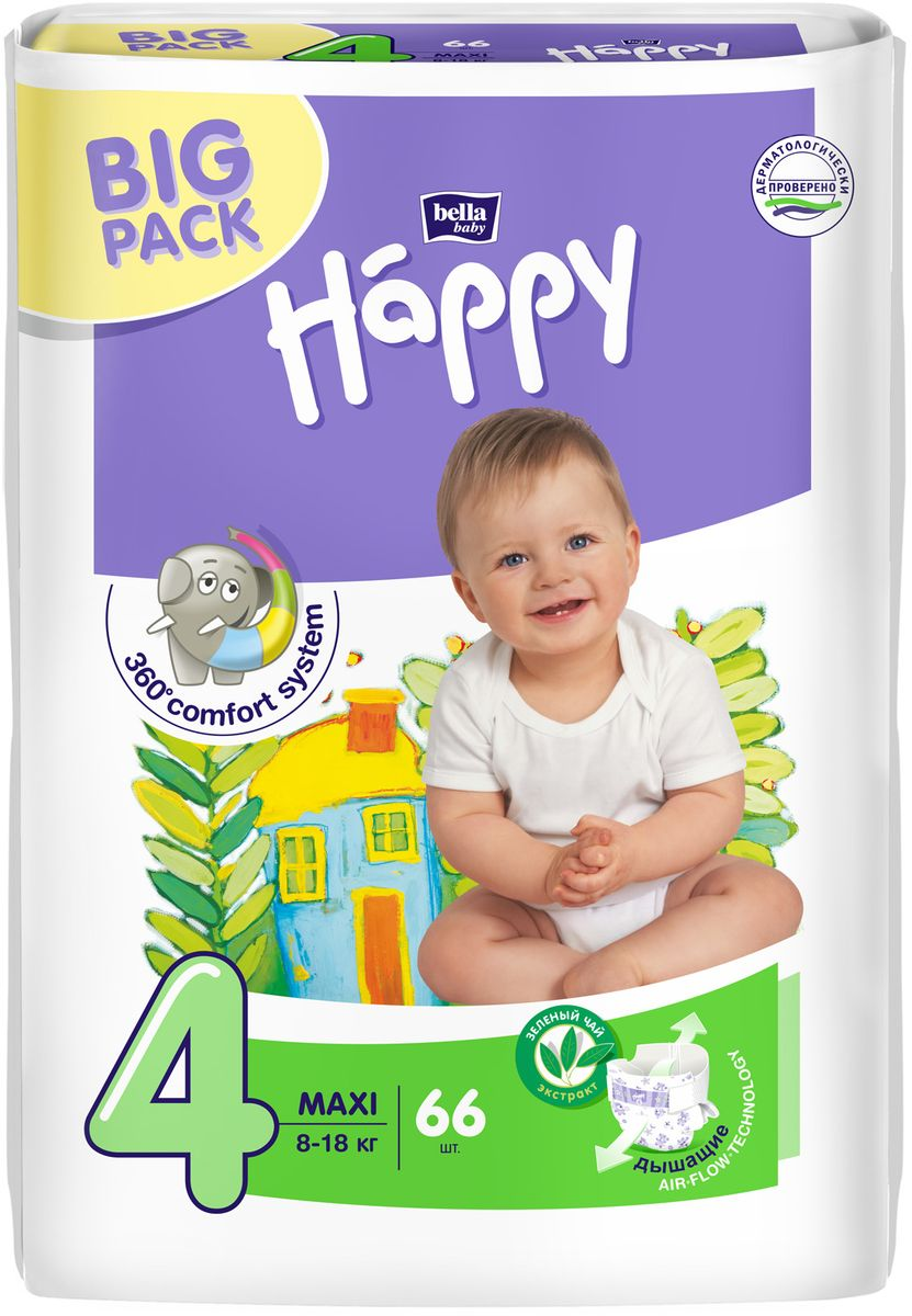 Bella baby Happy Подгузники Maxi 8-18 кг 66 шт цена