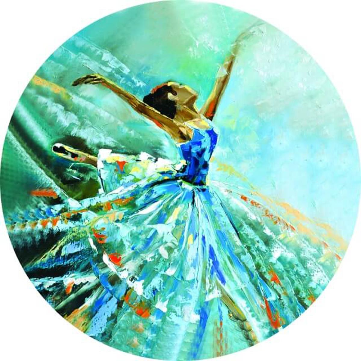 """Набор для вышивания крестиком Цветной """"Балерина в голубом"""", 21 х 21 см"""