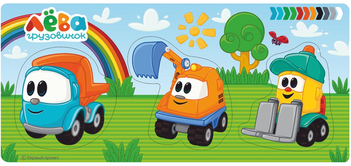 Фабрика Мастер игрушек Рамка-вкладыш Грузовичок Лева и его друзья цена