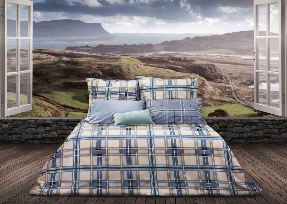 Комплект белья Sova & Javoronok Герой Шотландии, 2-спальный, наволочки 70х70, цвет: белый, голубой кпб 2 х спальный goldtex
