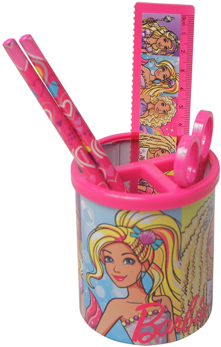 Mattel Настольный канцелярский набор Barbie 4 предмета цвет розовый