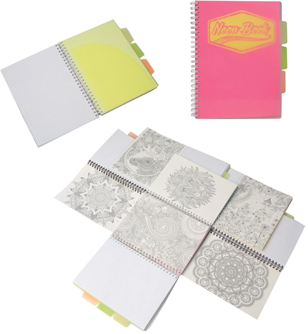 Expert Complete Тетрадь Neon Book 120 листов в клетку цвет розовый формат A5 expert complete тетрадь neon book 120 листов в клетку цвет синий формат a5