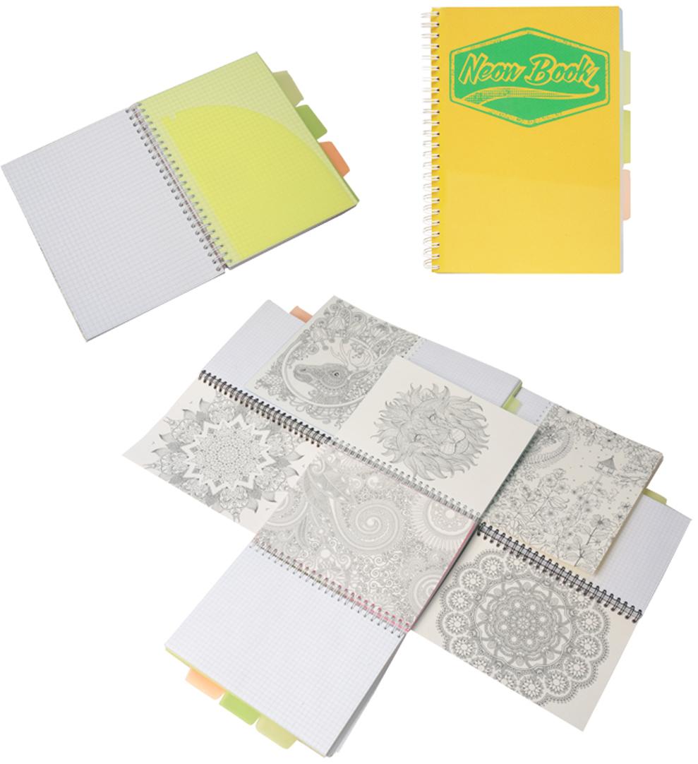 Expert Complete Тетрадь Neon Book 120 листов в клетку цвет желтый формат A5 expert complete тетрадь neon book 120 листов в клетку цвет синий формат a5
