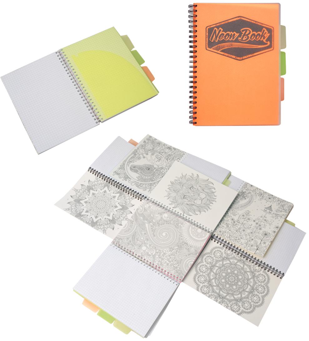 Expert Complete Тетрадь Neon Book 120 листов в клетку цвет оранжевый формат A5 expert complete тетрадь neon book 120 листов в клетку цвет синий формат a5