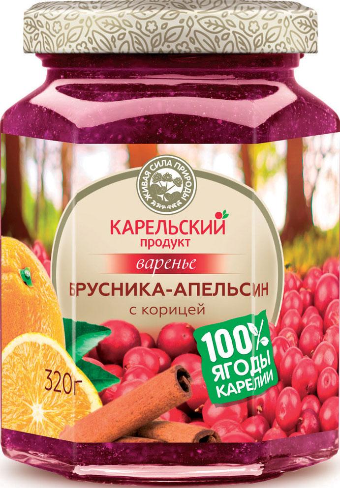 Карельский продукт Варенье из брусники и апельсина с корицей, 320 г карельский продукт варенье из морошки и облепихи 320 г