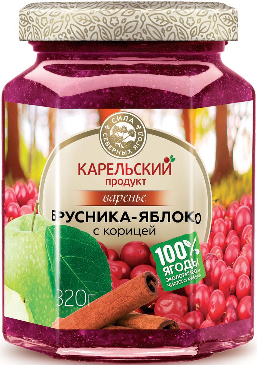 Карельский продукт Варенье из брусники и яблока с корицей, 320 г карельский продукт варенье из морошки и облепихи 320 г