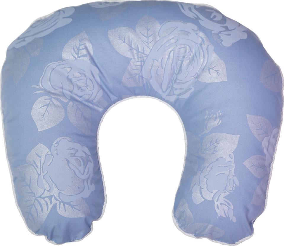 Подушка ортопедическая Bio-Textiles Подкова, наполнитель: лузга гречихи, цвет: голубой, 40 х 40 см. F193