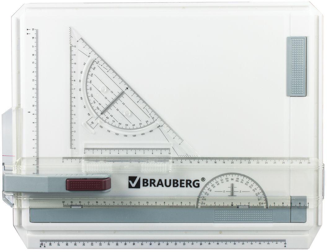 Brauberg Доска чертежная с рейсшиной и треугольником цвет белый. 210535