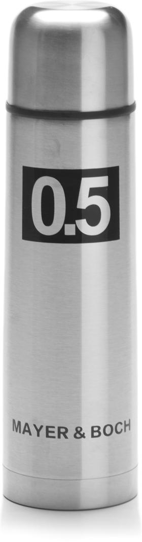 Термос Mayer & Boch, с чехлом, цвет: серебристый, черный, 500 мл