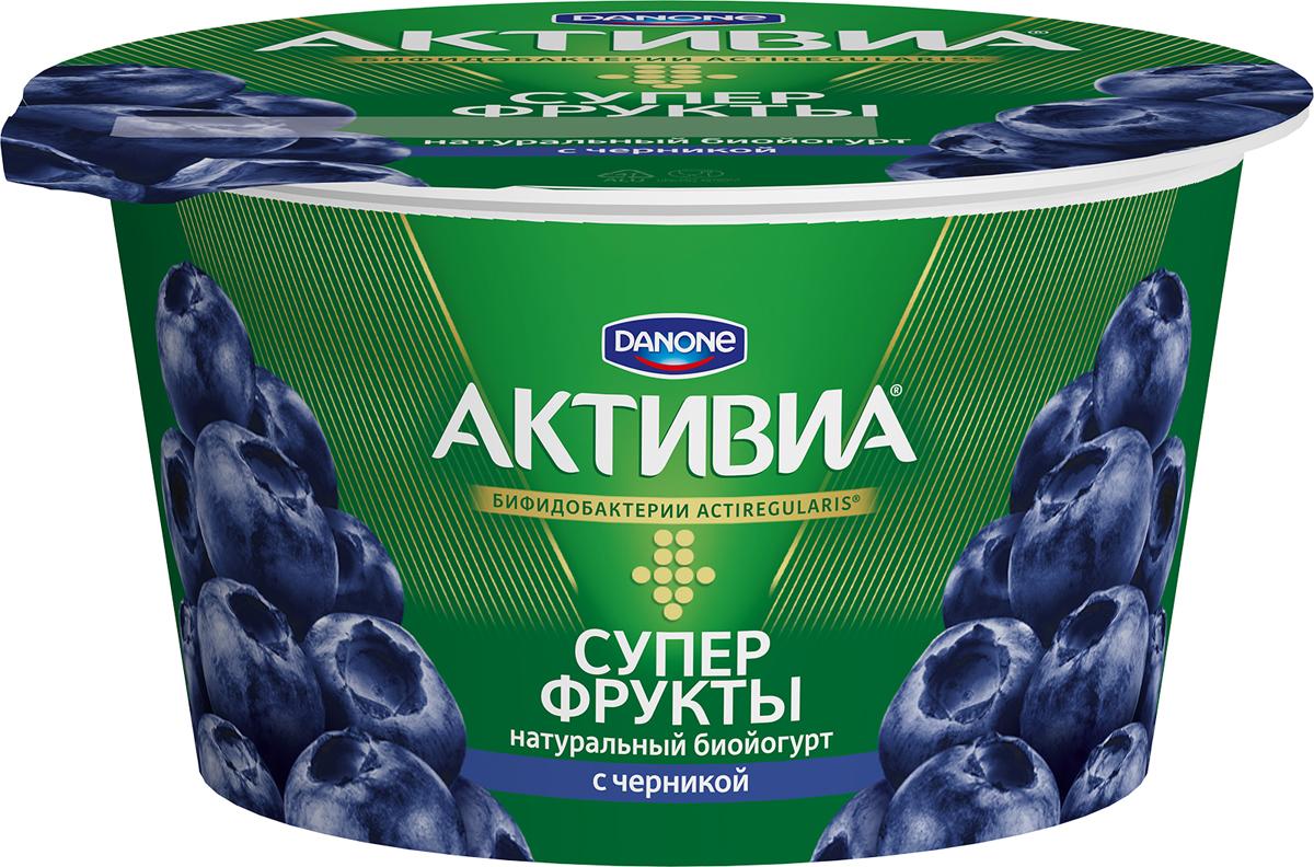Активиа Суперфрукты, Биойогурт Черника, 2,4%, 140 г