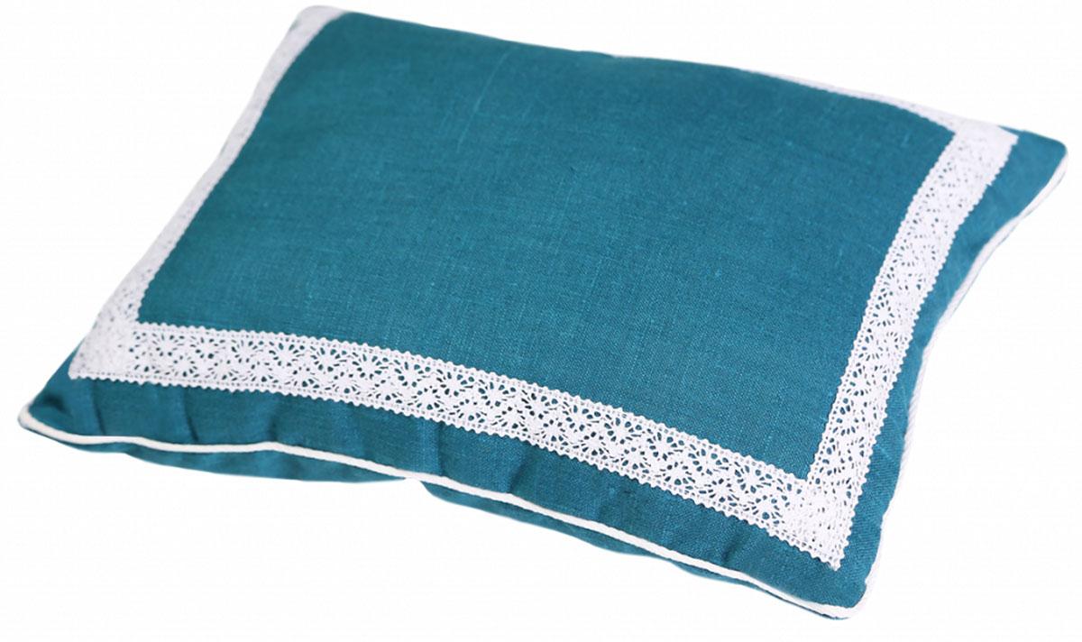 Подушка Bio-Textiles Кедровое очарование, наполнитель: кедр, цвет: бирюзовый, 40 х 60 см