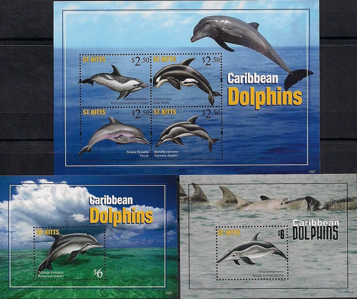 Дельфины Карибов, Сент - Китс. Малый лист + 2 блока цена в Москве и Питере