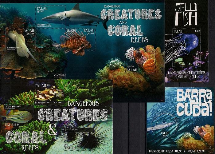 Опасные существа и коралловые рифы, Палау. Лист + малый лист + 2 блока цена в Москве и Питере