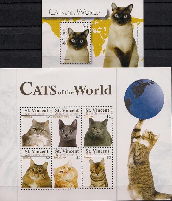 Кошки мира № 3, Сент - Винсент. Лист + блок цена в Москве и Питере