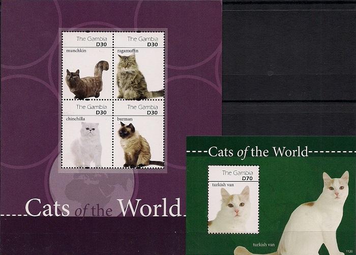Кошки мира № 4, Гамбия. Лист + блок цена в Москве и Питере