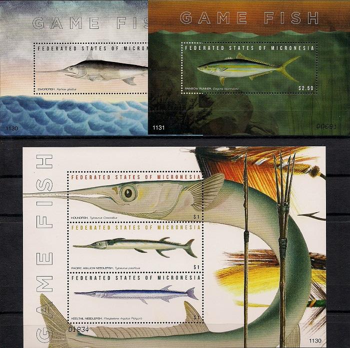 Рыбы. Спортивное рыболовство, Микронезия. Лист + 2 блока цена в Москве и Питере