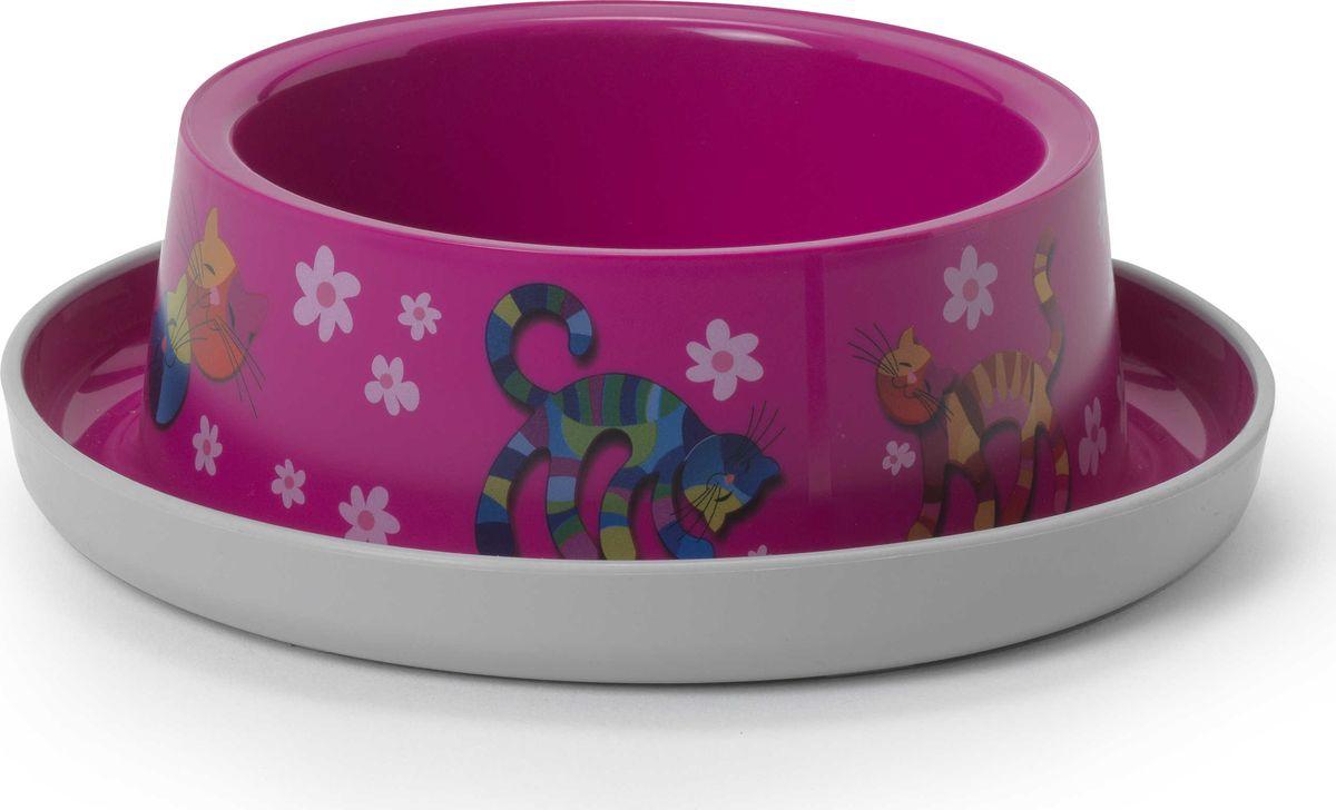 Миска для животных Moderna Trendy Dinner. Друзья навсегда, цвет: ярко-розовый, 17 x 5,3 см миска для животных moderna trendy dinner люксори пет 27 x 16 5 x 6 см