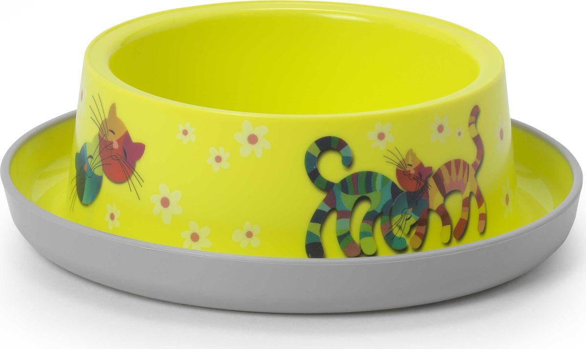 Миска для животных Moderna Trendy Dinner. Друзья навсегда, цвет: лимонный, 17 x 5,3 см миска для животных moderna trendy dinner люксори пет 27 x 16 5 x 6 см