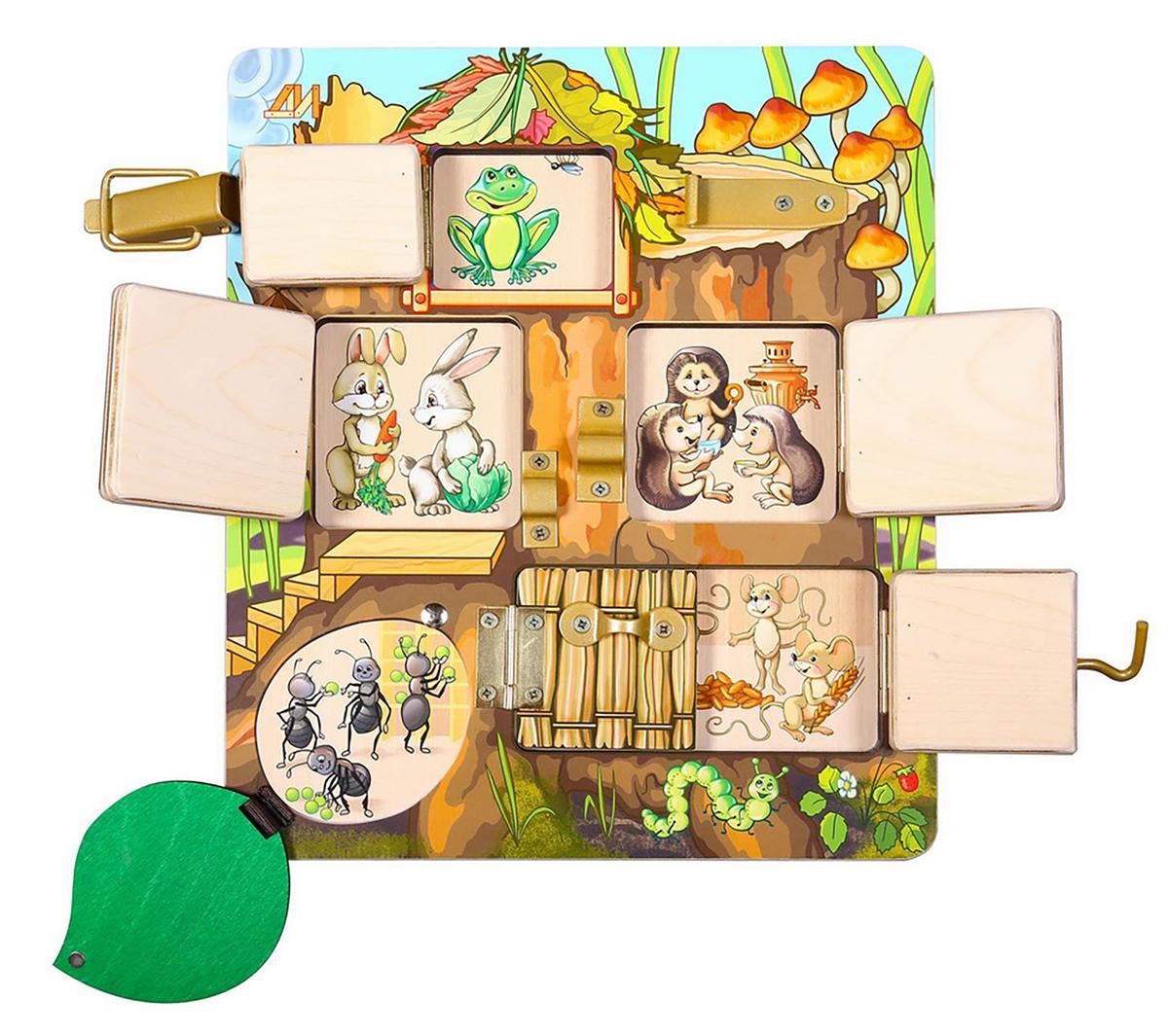 Деревянные игрушки Бизиборд Теремок кубики русские деревянные игрушки игрушки д482а 4 шт