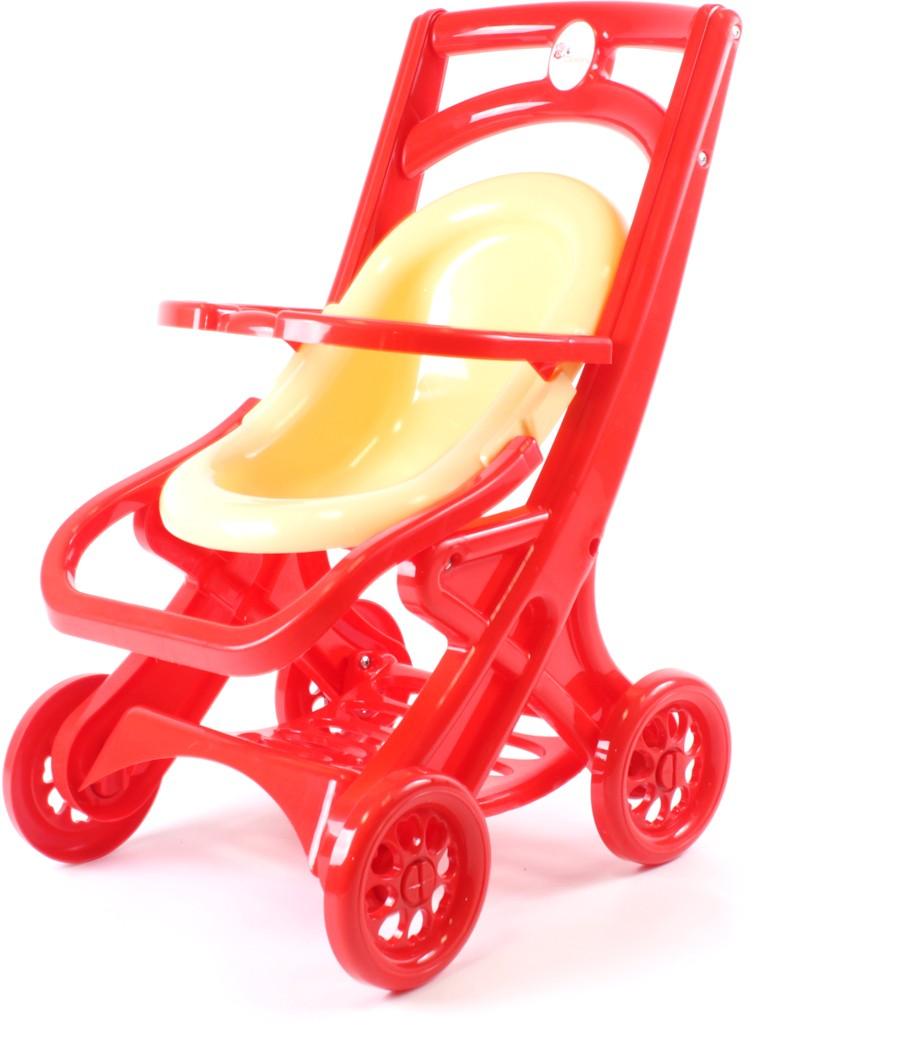 Doloni Коляска для кукол прогулочная цвет красный бежевый