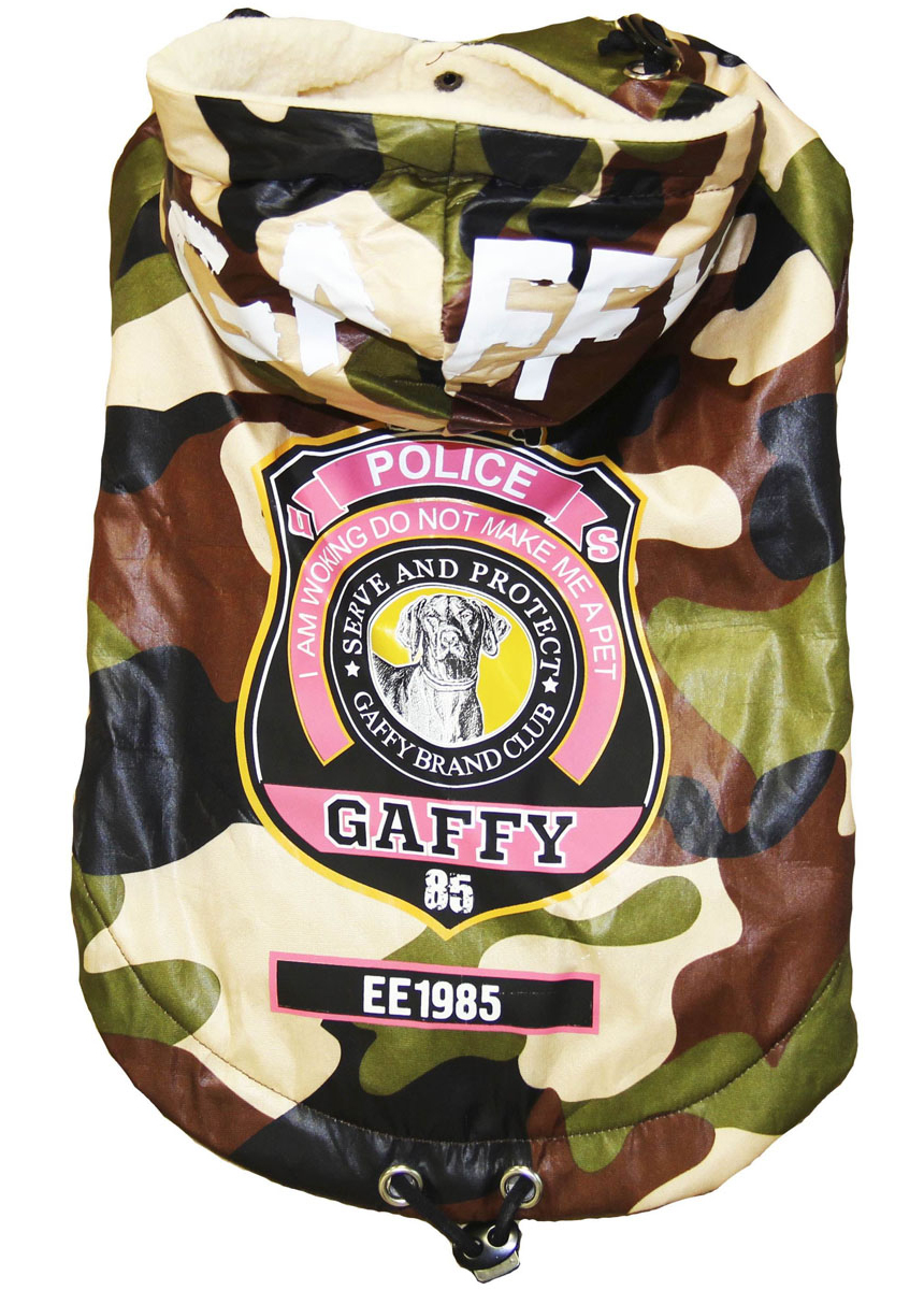 "Куртка-пуховик для собак Gaffy Pet ""Police"", унисекс. Размер S"