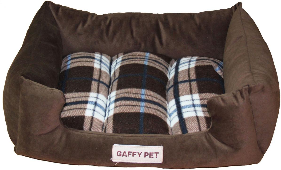 "Лежак для животных Gaffy Pet ""Клетка Plaid"", цвет: коричневый, 70 х 55 х 23 см"