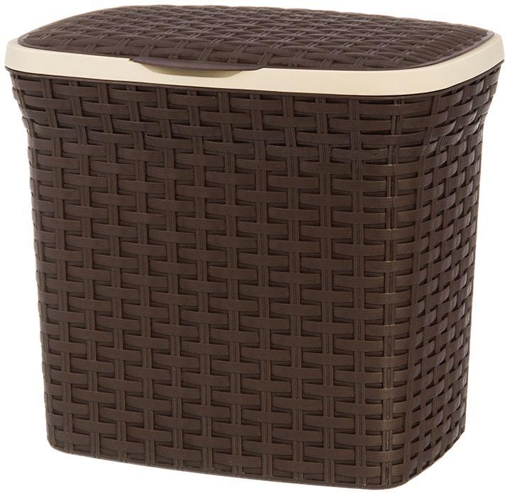 Контейнер для стирального порошка Violet Ротанг, цвет: коричневый, 10 л. 811208 контейнер для мусора violet дерево цвет коричневый желтый 4 л