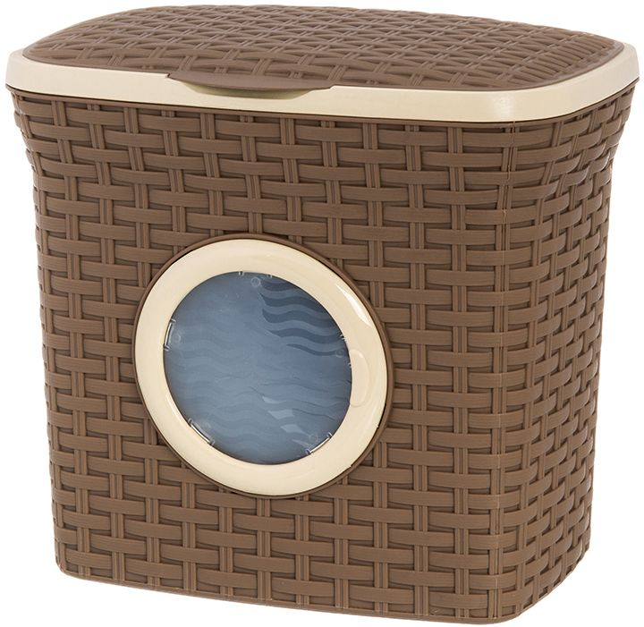 Контейнер для стирального порошка с иллюминатором Violet Ротанг, цвет: коричневый, 10 л. 811212 контейнер для мусора violet дерево цвет коричневый желтый 4 л