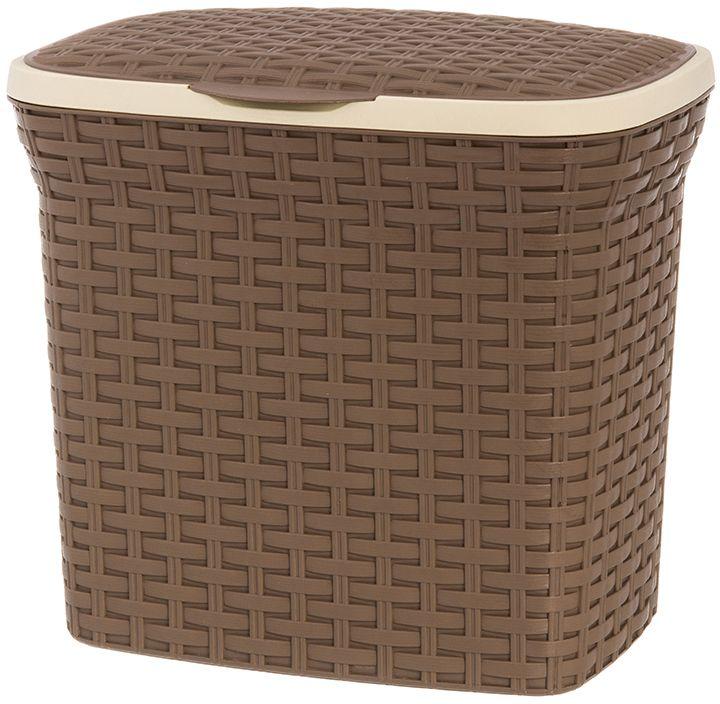 Контейнер для стирального порошка Violet Ротанг, цвет: коричневый, 10 л. 811213 контейнер для мусора violet дерево цвет коричневый желтый 4 л