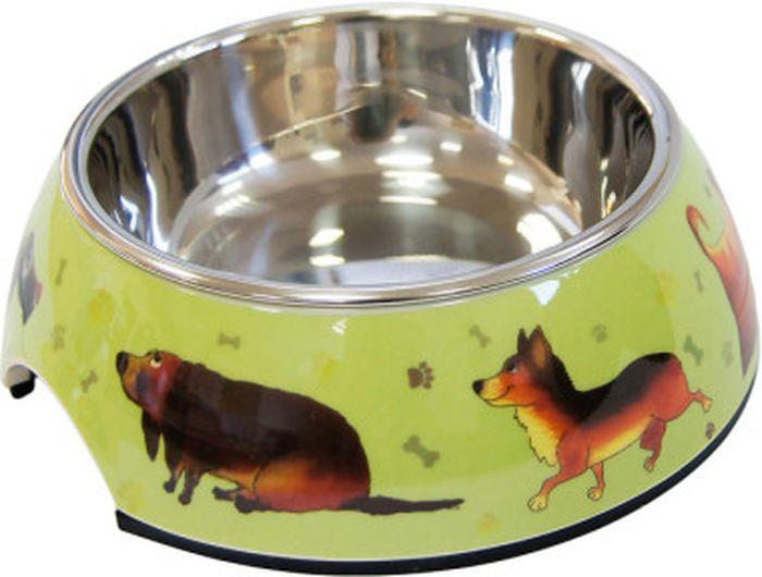 Миска для животных Super Design Собачки, на подставке, 160 мл миска для животных super design на меламиновой подставке 0 16л полоски