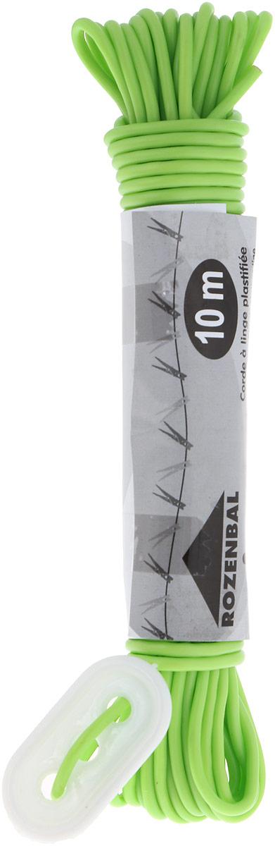 Веревка бельевая Rozenbal Эко, пластиковая, цвет: салатовый, 10 м. R102810 веревка бельевая axentia цвет красный длина 30 м