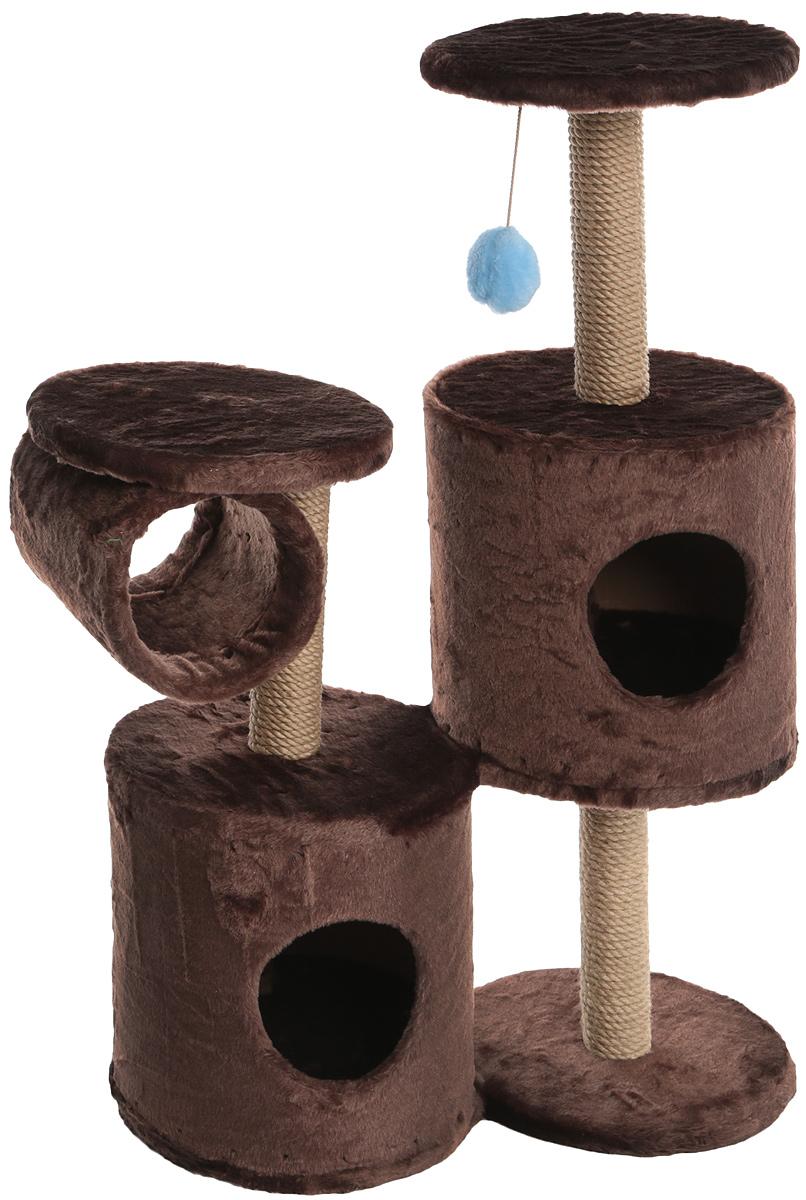 Игровой комплекс для кошек ЗооМарк Базилио, цвет: темно-коричневый, бежевый, 70 х 31 х 97 см145_темно-коричневыйИгровой комплекс для кошек ЗооМарк Базилио выполнен из высококачественного дерева и обтянут искусственным мехом. Изделие предназначено для кошек. Ваш домашний питомец будет с удовольствием точить когти о специальные столбики, изготовленные из джута. А отдохнуть он сможет либо на полках разной высоты, либо в домиках. Также комплекс оснащен подвесной игрушкой, привлекающей внимание кошки. Общий размер: 70 х 31 х 97 см. Размер домиков: 31 х 31 х 32 см. Диаметр полок: 31 см. Крупногабаритный товар.