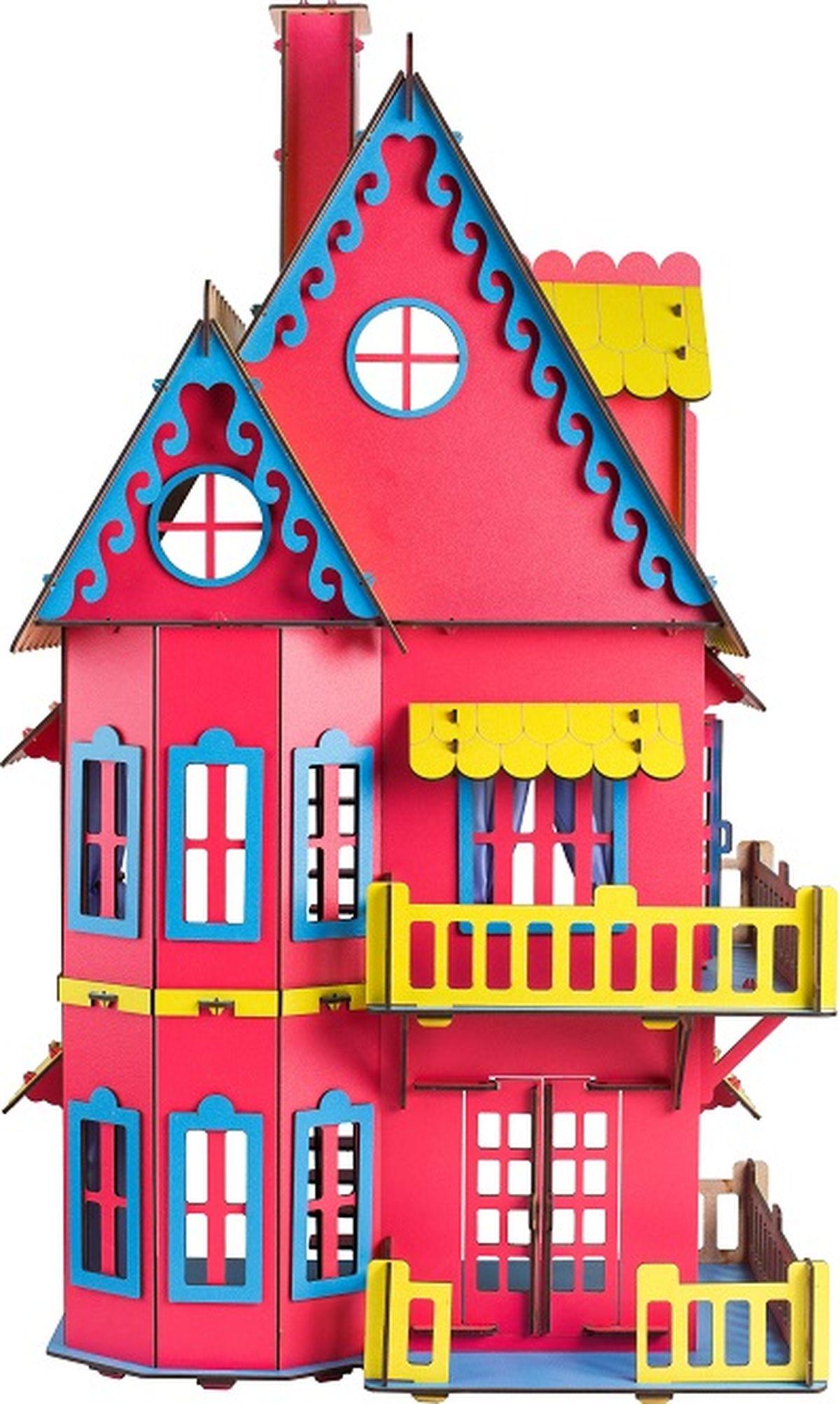 Деревянный конструктор Большой слон Кукольный домик цвет розовый набор для творчества конструктор раскраска домик собачка перепл картон с европодвесом
