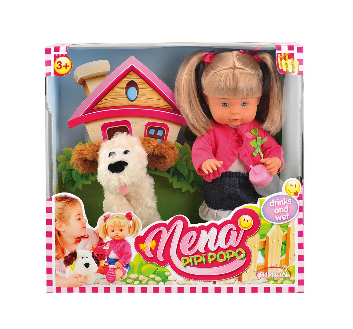 Dimian Игровой набор с куклой Nena BambolinaBD385Кукла Нэна 36 см, в наборе с питомцем. Без эффектов. В наборе: - кукла, полностью изготовлена из ПВХ, поэтому ее можно купать, бутылочка. У куклы подвижные глаза, и конечности. Роскошные прочные волосы. Кукла пьет и писает. Наполните бутылочку водой, и попоите куклу через отверстие во рту, кукла сразу же начнет писать.