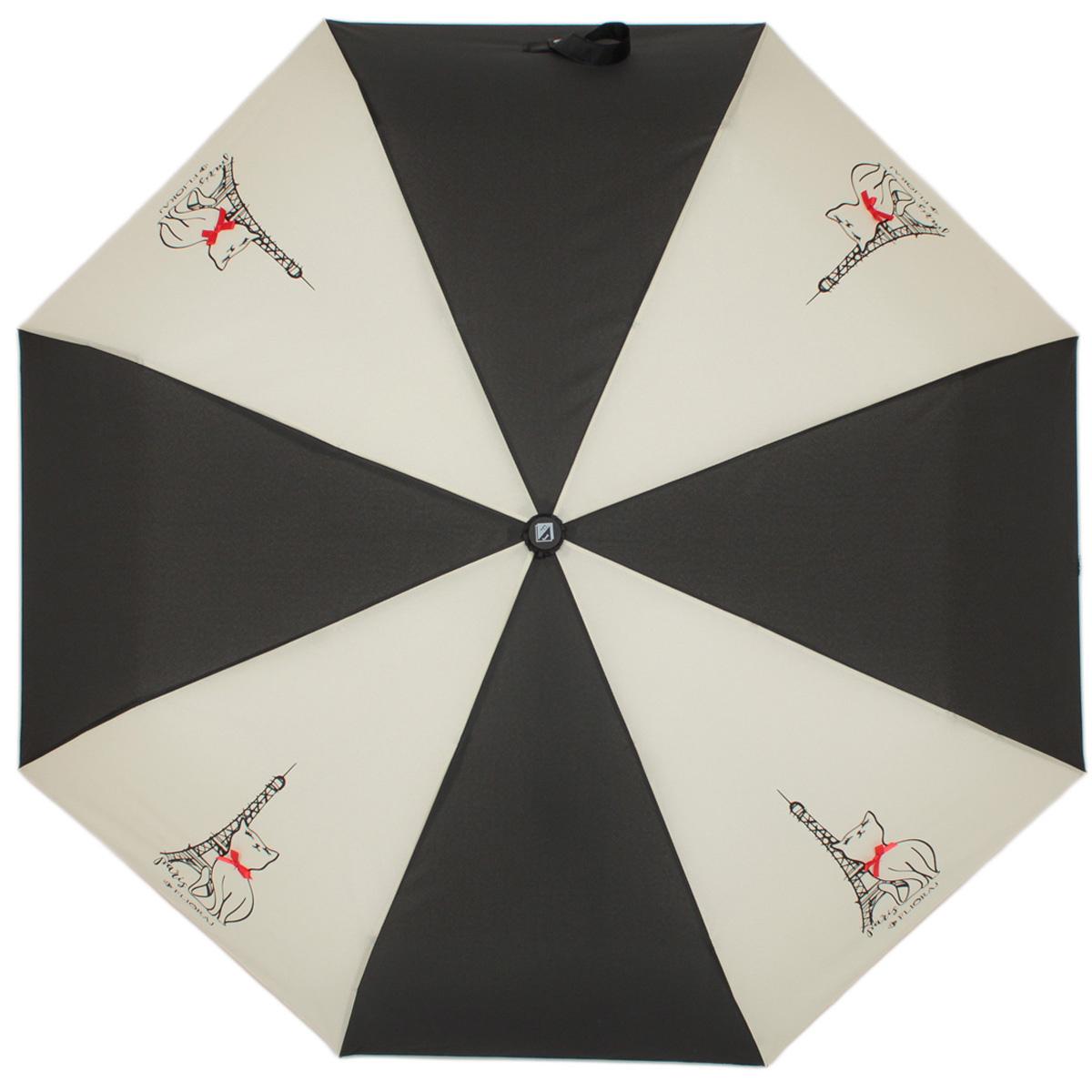 Зонт женский Flioraj Наив. Кошки, автомат, 3 сложения, цвет: черный, белый. 160200 FJ160200 FJЯркий зонтик в стиле наив, украшенный винтажным рисунком и атласными бантиками. Тефлоновая пропитка обеспечивает дополнительную влагоустойчивость, зонт не промокает на 3 часа дольше аналогов. Ручка с покрытием Soft Touch не скользит и не царапается.