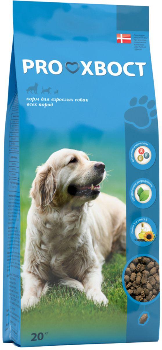 Корм сухой ProХвост для взрослых собак всех пород, 20 кг4640011981248Полнорационный сбалансированный сухой корм на каждый день. Подходит для собак всех пород и всех размеров. Корм ProХвост разработан на основе результатов последних исследований в области питания домашних животных с учетом международных стандартов. Корм содержит витамины A, D, E и минералы, необходимые для здоровья и жизненной энергии животного. Жирные кислоты Омега-3 и Омега-6 незаменимы для поддержания здоровья кожи и красоты шерсти. Специально разработанные текстура и форма гранул способствуют улучшению гигиены полости рта. Корм ProХвост обладает высокой поедаемостью за счет вкуса, который нравится питомцам. Состав: злаки и продукты растительного происхождения, мясо и продукты животного происхождения, животные жиры и растительные масла, натуральные вкусоароматические добавки, рыба и рыбные субпродукты, минеральные вещества и витамины. Добавки, сохраняющие продукт: антиоксиданты (Е320, Е321), консервант (мико карб). Показатели: сырой протеин - 22 %, сырой жир - 10 %, сырая клетчатка - 4 %, сырая зола - 8 %, кальций - 1,4 %, фосфор - 1,1 %, влажность - 10 %, витамин А - 15000 МЕ/кг, витамин D – 1500 МЕ/кг, витамин Е – 50 мг/кг. Энергетическая ценность: 337 ккал/100 г. Товар сертифицирован.
