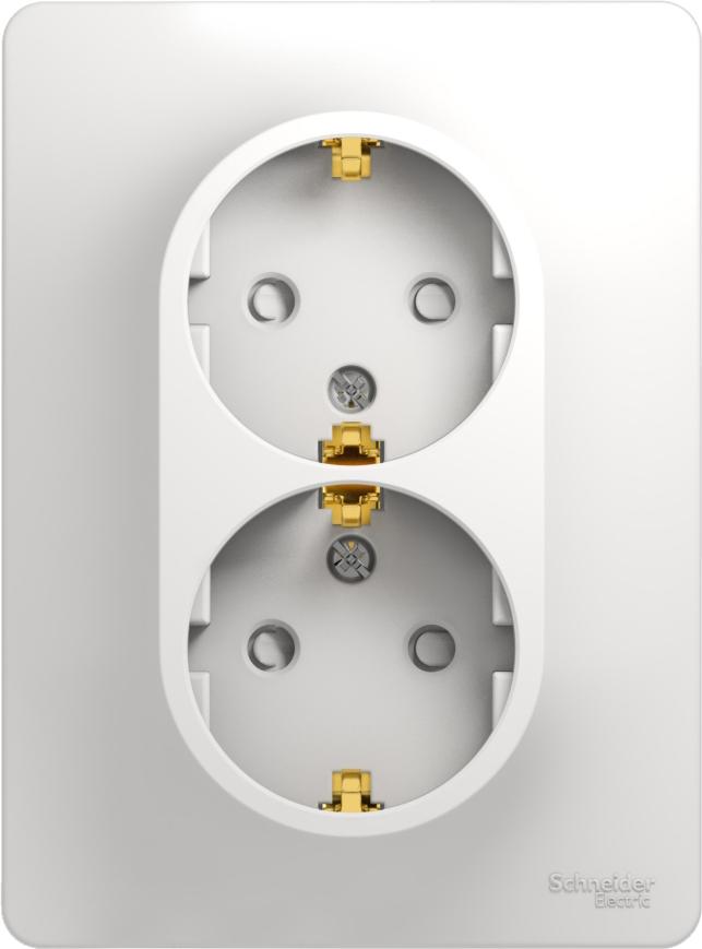 Розетка Schneider Electric Glossa, двухместная, с защитной шторкой, с заземлением, цвет: белый, GSL000126 розетка simon electric с заземлением цвет белый 16 а 250 в