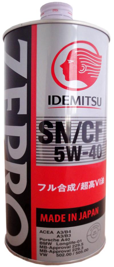 Масло моторное IDEMITSU ZEPRO EURO SPEC, синтетическое, SAE 5W-40, API SN/CF, 1 л