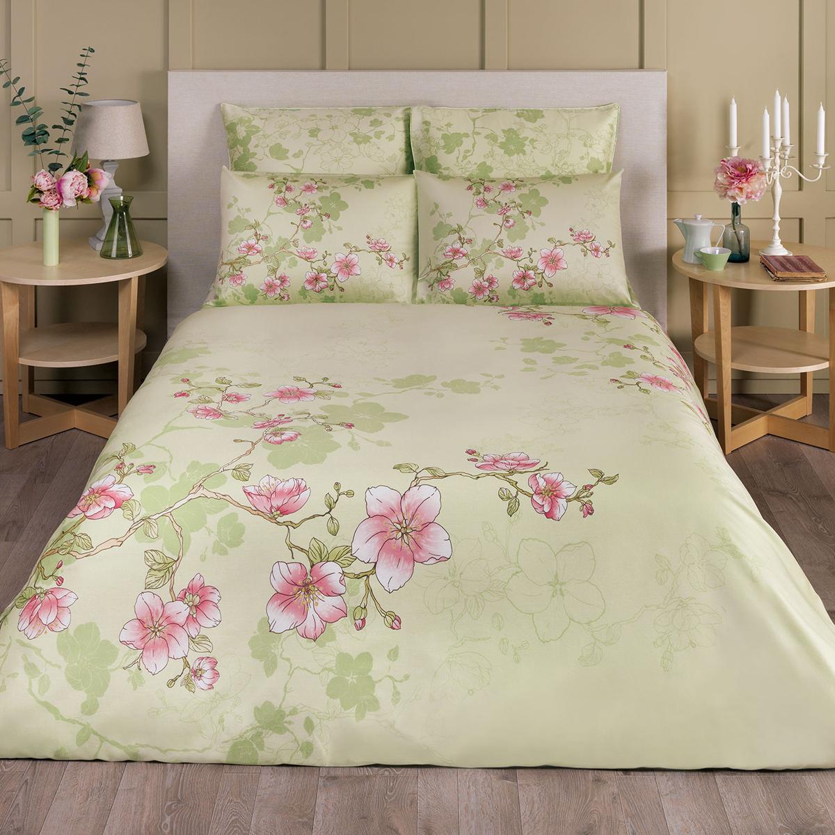 цена на Комплект белья Classic by T Марилена, 1,5-спальный, наволочки 50х70, цвет: светло-зеленый