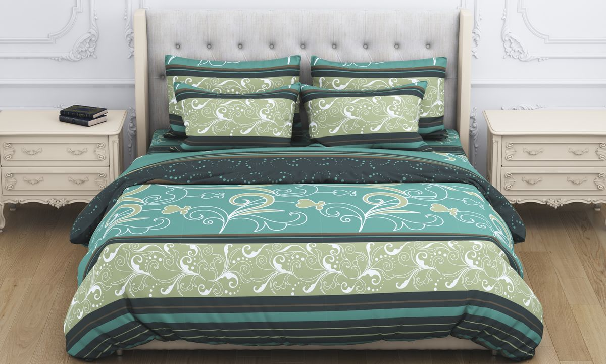 Комплект белья Amore Mio Atyd, 2-спальный, наволочки 70x70, цвет: зеленый