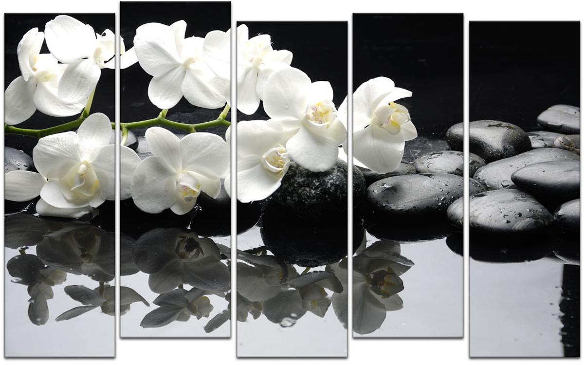 Картина модульная Картиномания Белые орхидеи и черные камни, 90 х 57 см, Дерево, Холст картина модульная картиномания модный антиквариат 90 х 57 см дерево холст